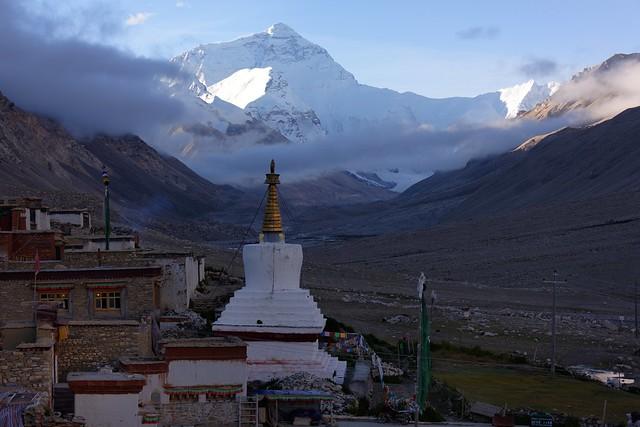 Mt Everest and the monastery of Rongphu, Tibet 2017