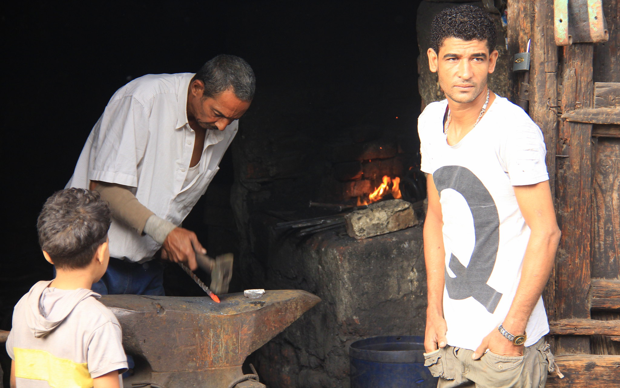Many small service providers like blacksmiths have shops at souq al goma