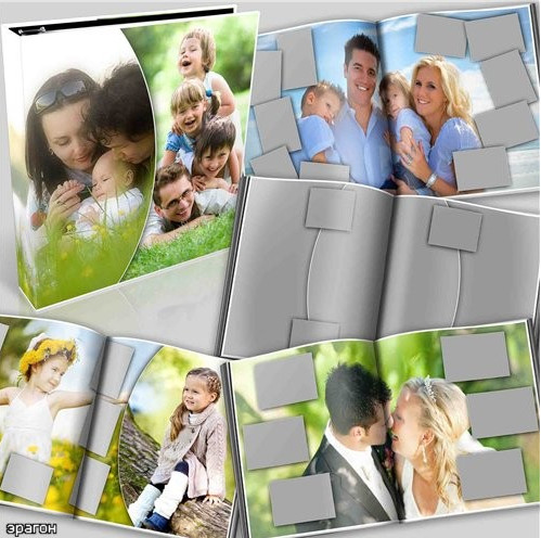 Download universal photobook for Photoshop in PSD format