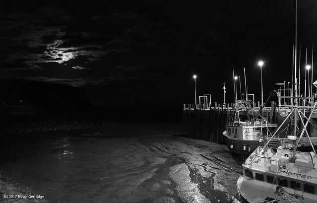 Moon rise at the wharf in Alma
