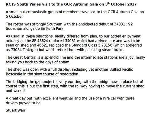 RCTS South Wales visit to the GCR Autumn Gala on 5th October 2017