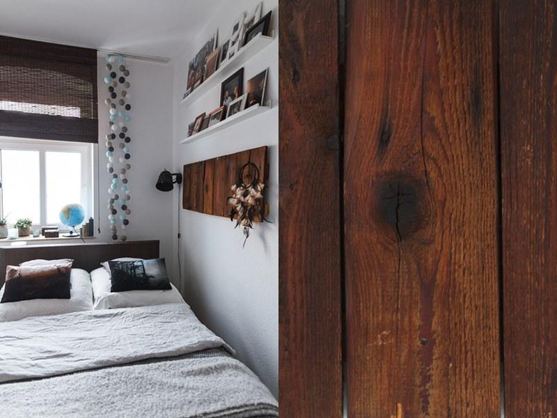 Interior kleines gemütliches Schlafzimmer Holz Pinnwand