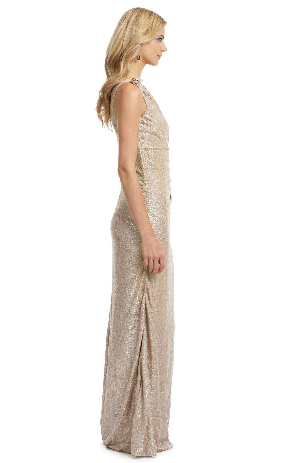 $648 David Meister Gold Matelasse One-shoulder Metallic Gown Dress ...
