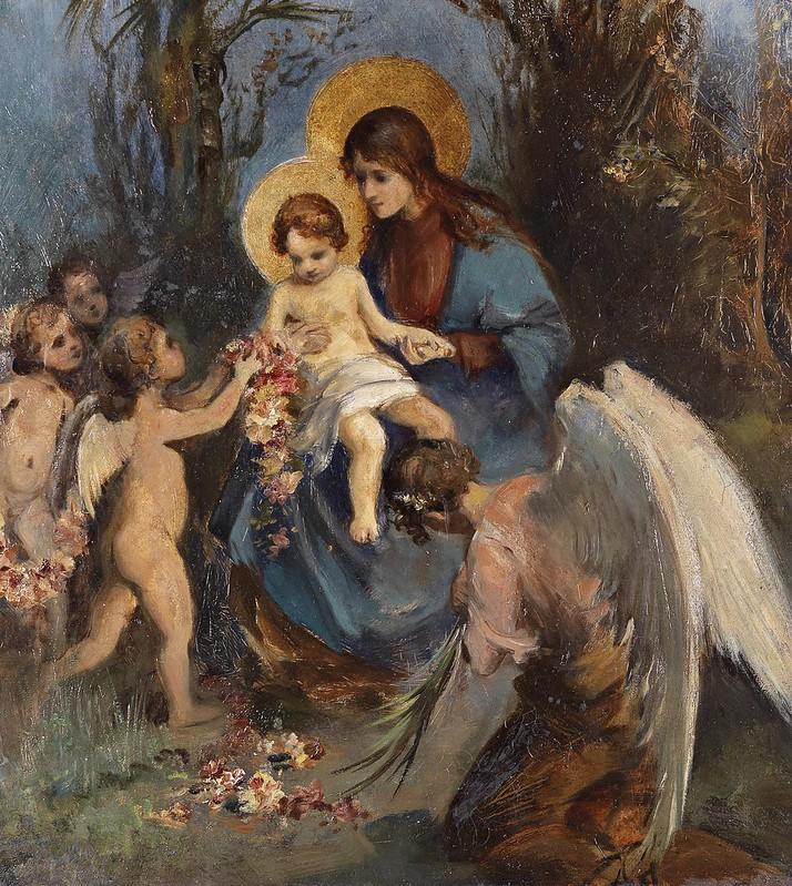 Carl Rahl (attr) - Ein Blumenkranz für das Jesuskind