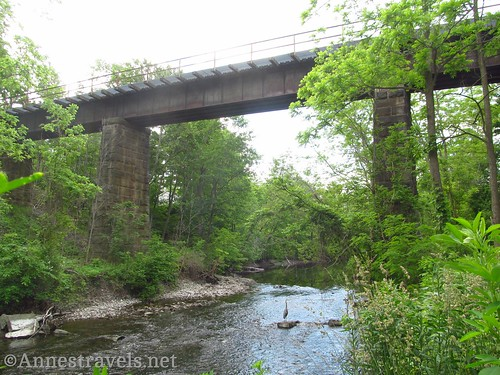 An old train trestle just east of Penn Yan. At one time, the tracks went north to Stanley Junction and south to Watkins Glen. Can you spot the Heron in the river? Keuka Outlet Trail, New York