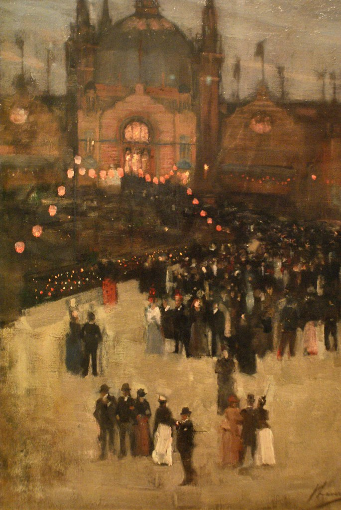 "> Toile ""Glasgow exhibition"" (1888) par John Lavery."