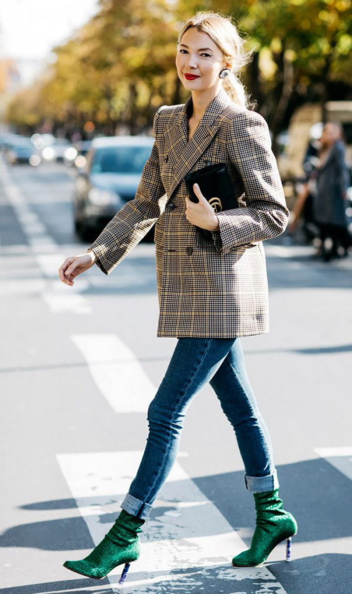 plaid blazer street style trend style outfit 2017 accessories denim7