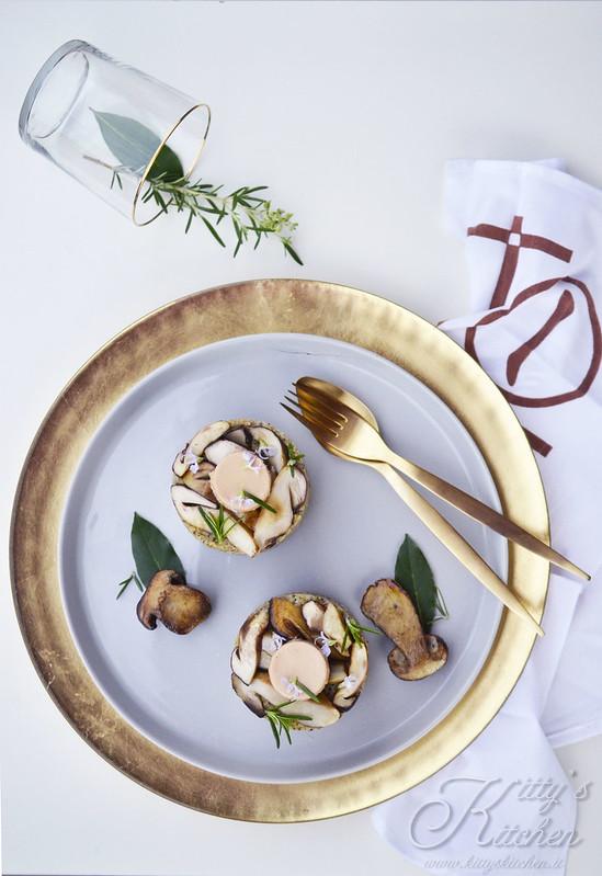 Polenta targata, funghi porcini e foie gras