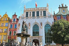 Gdansk, Poland. First acquaintance - main street (Dlugi Targ) with fountain of Neptun