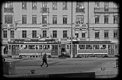A tram from the 1920's on the streets of Stockholm in 2017. To get a feel for the era, I made the picture monochrome.