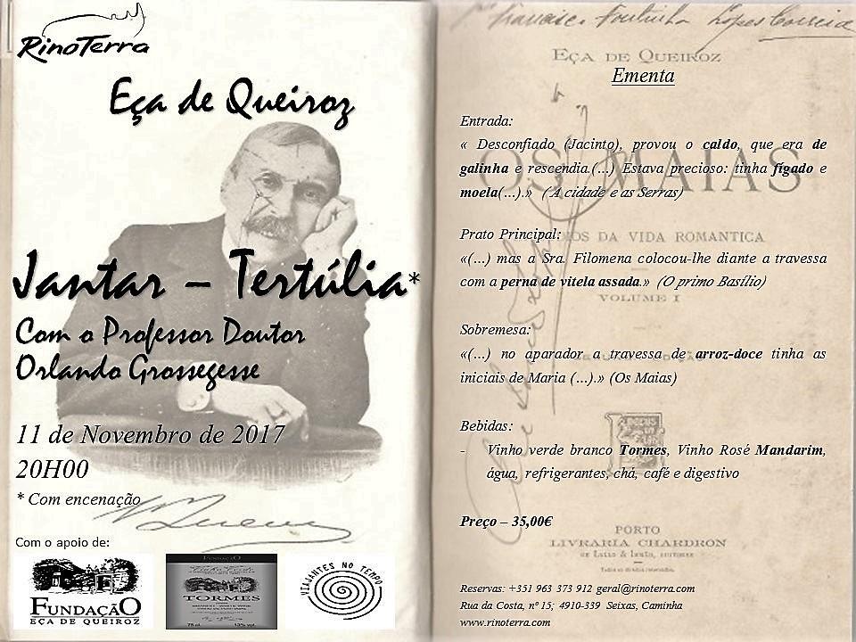 Jantar Queirosiano + Tertúlia (Rinoterra Minho, Caminha, 11Nov)