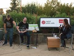 Insight producer Chris Remington, bass player Stephen Coronado, and Insight host Beth Ruyak.