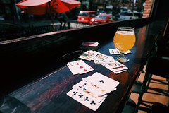 Cards, beer, autumn in Chicago // Table Drink Gambling Cards No People Drinking Glass Leisure Games Poker - Card Game Luck Chance Indoors  Gambling Chip Day Close-up at Links Taproom
