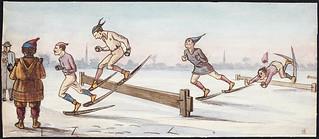 Hurdle race on snowshoes, Montréal, Quebec / Course à obstacles en raquettes, Montréal (Québec)