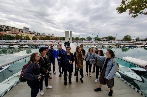 Visiting Associate Professor Sasa Begovic and students take a break to enjoy ice cream during the trip to Croatia. photo / Christopher Andras (B.Arch. '18)