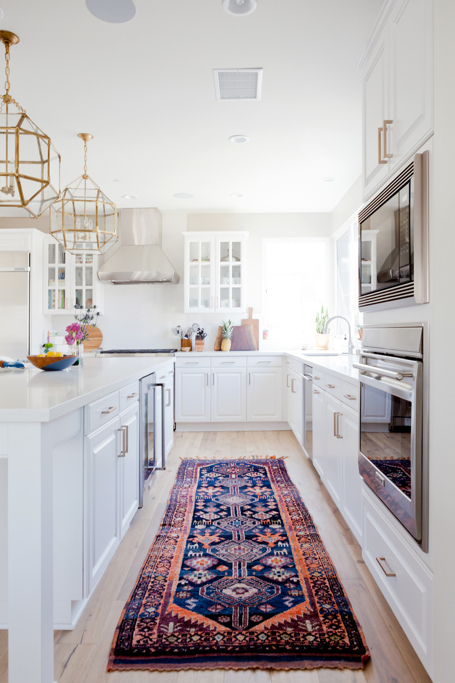 Modern White Bright Kitchen Vintage Persian Runner Rug Vibrant Color Jewel Tone
