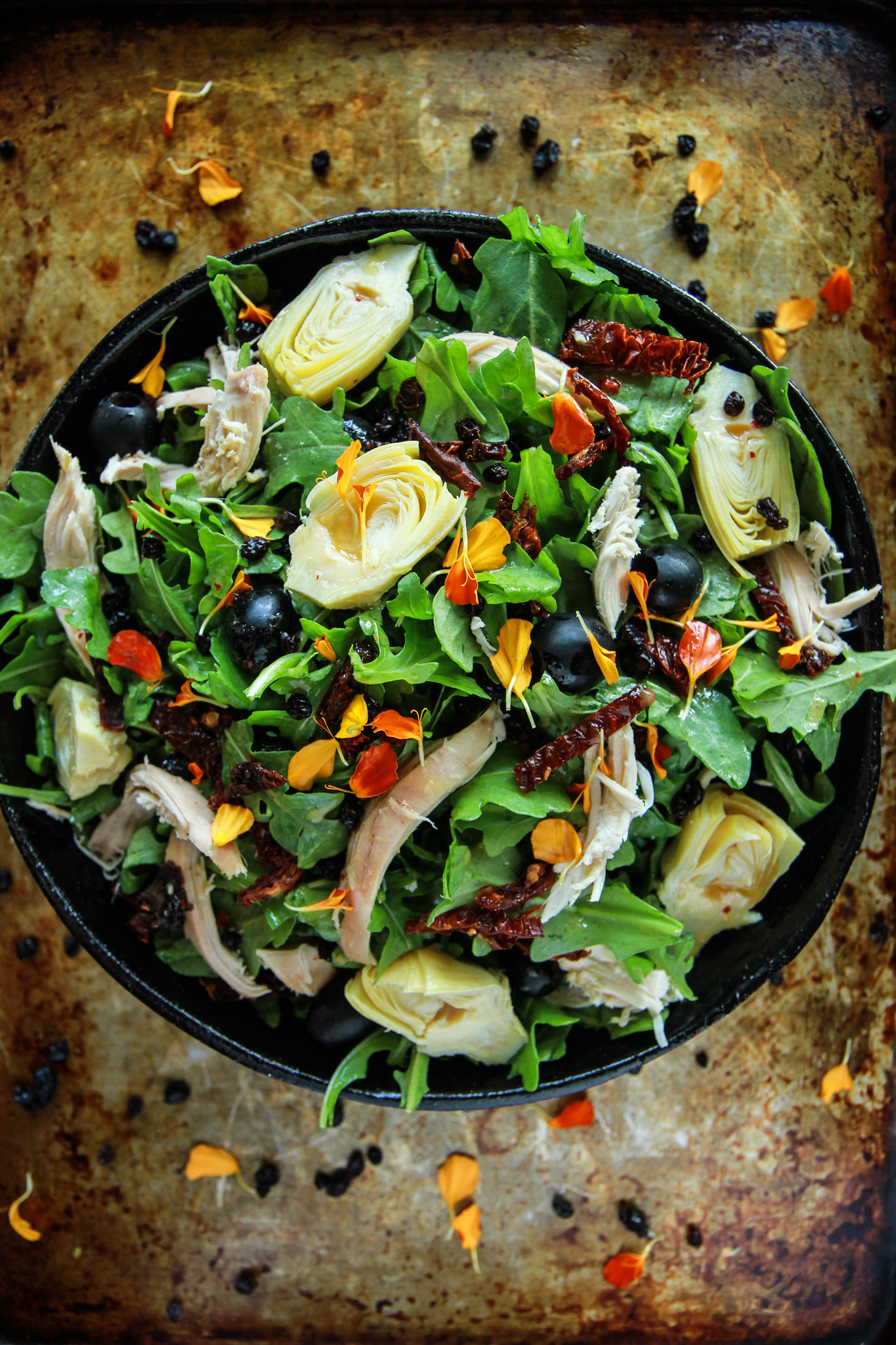 Sicilian Chicken Arugula Salad from HeatherChristo.com