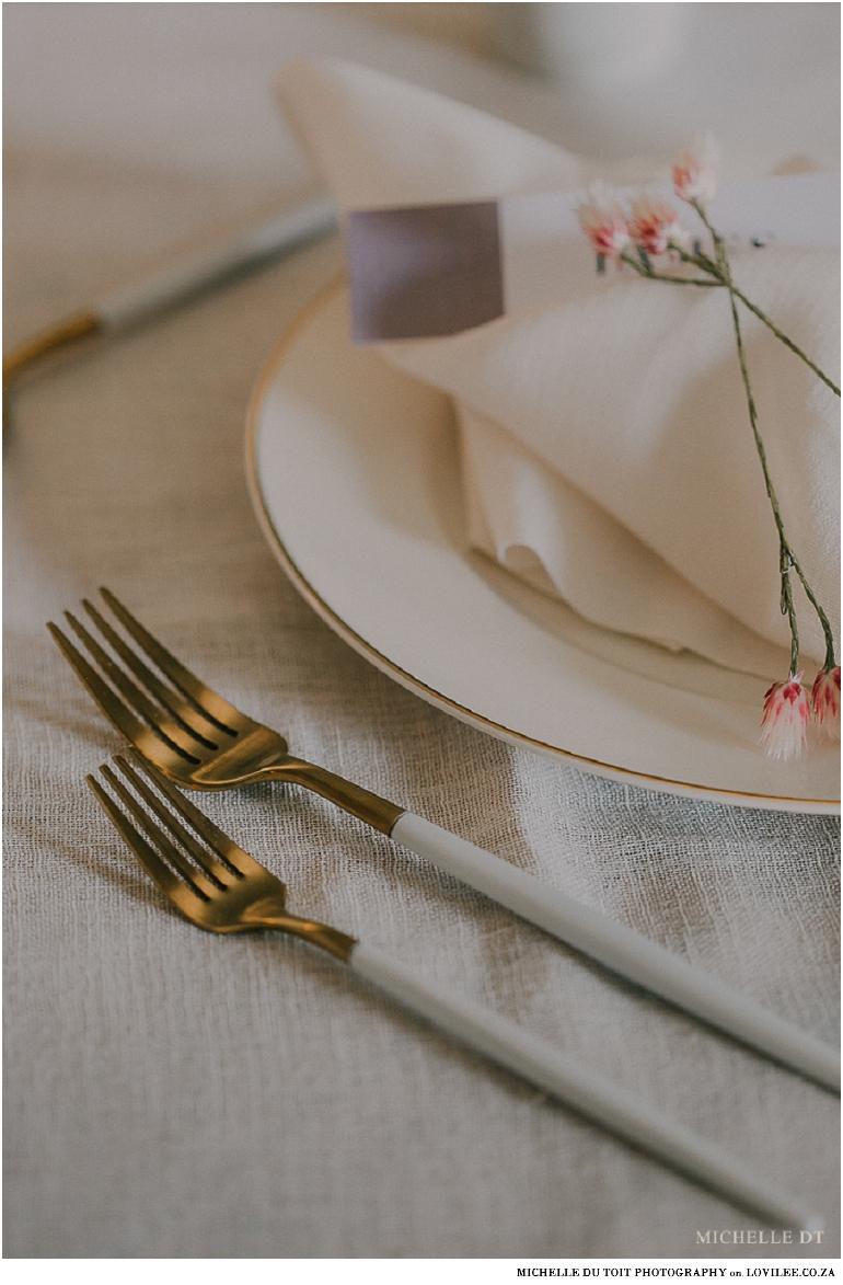 Minimalist wedding inspiration - Nicolson Russel gold cutlery