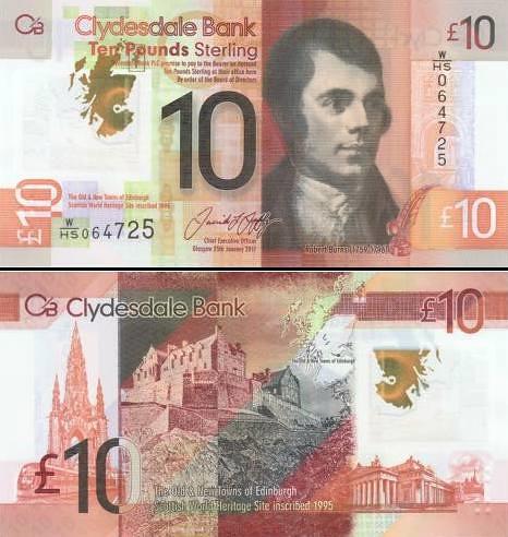 10 škótskych libier Škótsko CB 2017, polymer P231