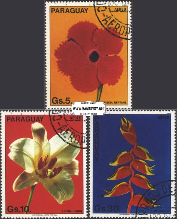 Známky Paraguay Kvety 1983, razítkovaná séria