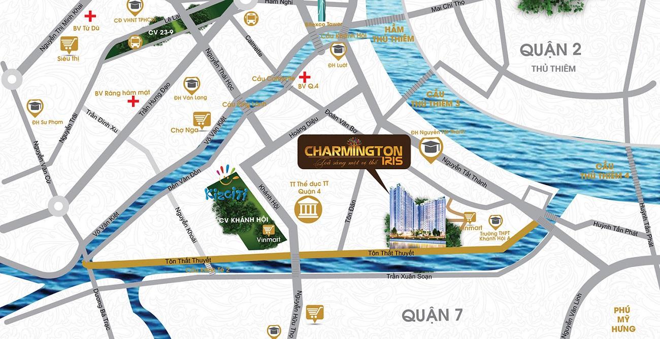 Vị trí dự án căn hộ Charmington Iris quận 4: số 76 Tôn Thất Thuyết.