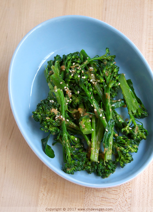 Broccolini with Peanut Sauce | Chow Vegan