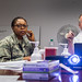 Former Air Force Colonel, Dr. Stephen Burns, right, shows instructional slides to registered nurses Sylvia Brooks, left, and 1st Lt. Folake Niniola during a Battlefield Acupuncture training session at the Air Force Acupuncture Center at the Malcolm Grow Medical Clinic, Joint Base Andrews, Md., Jun. 21, 2017. (U.S. Air Force photo by J.M. Eddins Jr.)