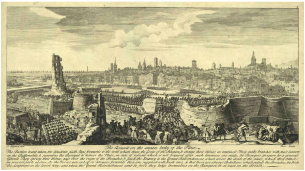 1714年加泰隆拿人為保衛自己的憲法,不惜獨力作戰,結果被法國西班牙聯軍圍城十十三個月,最後無奈投降,在失去大部份自治櫂下歸入西班牙波邦王朝。(維基百科圖片)
