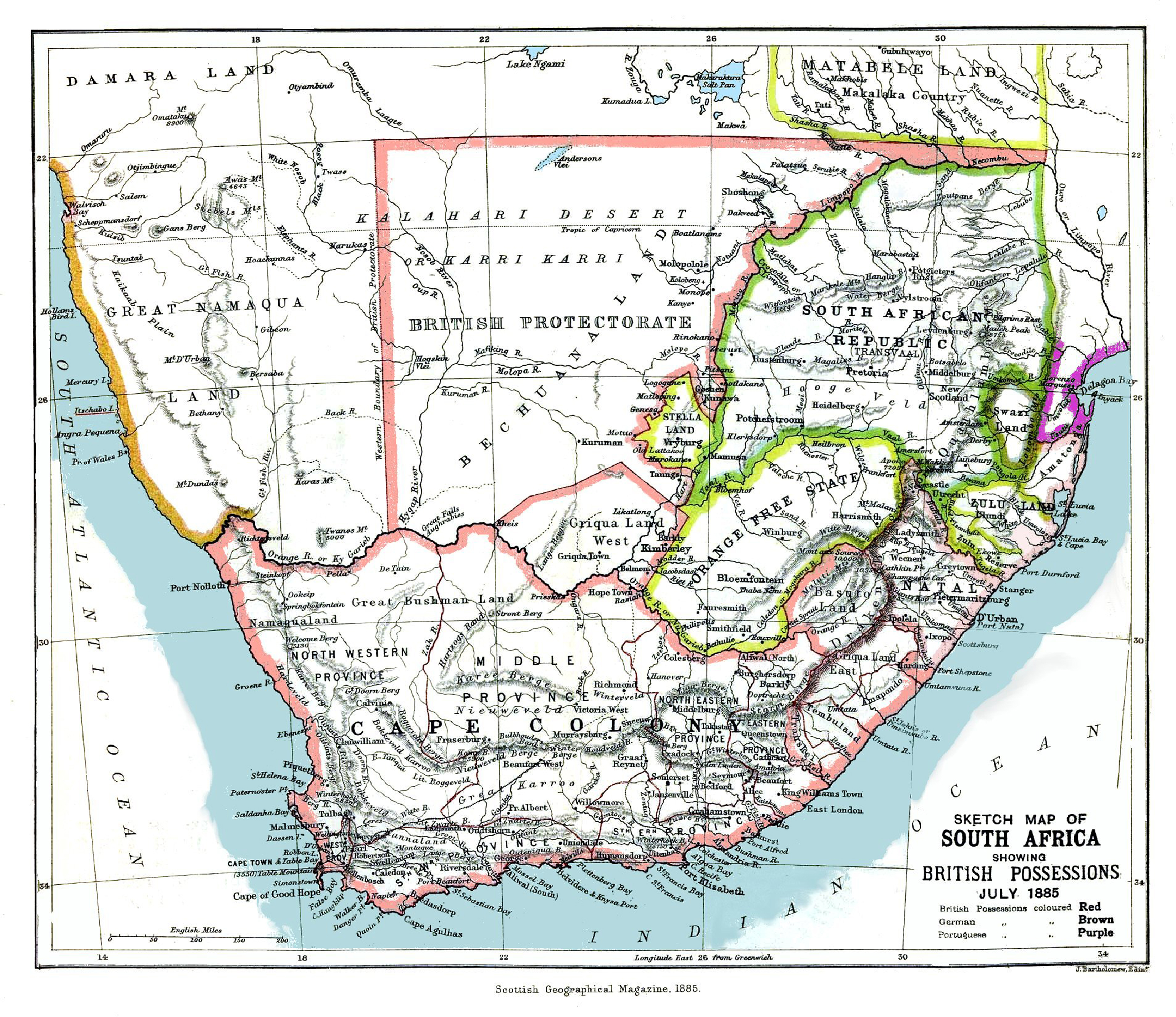 Map of South Africa and neighboring British possessions including Swaziland, July 1885