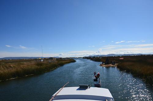 Fahrt durch die Schilfwiesen von Puno