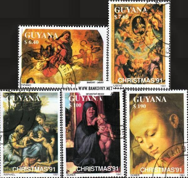 Známky Guayana 1991 Vianoce, obrazy Madony, razítkovaná séria