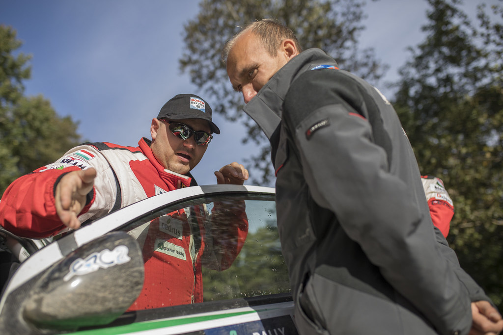 Erdi jun. Tibor and Papp Gyorgy, Mitsubishi Lancer Evo X ambiance portrait during the 2017 European Rally Championship ERC Liepaja rally,  from october 6 to 8, at Liepaja, Lettonie - Photo Gregory Lenormand / DPPI