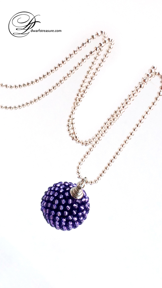Exquisite long chain necklace with purple glass bead ball charm