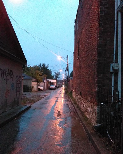 Alley south off Wallace #toronto #junctiontriangle #wallaceave #evening #rain #alley #laneway