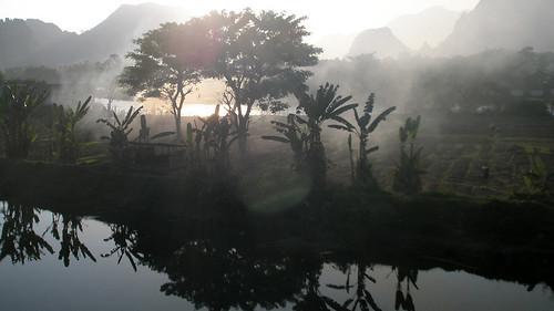 Smokey karst landscape in Vang Vieng, Laos