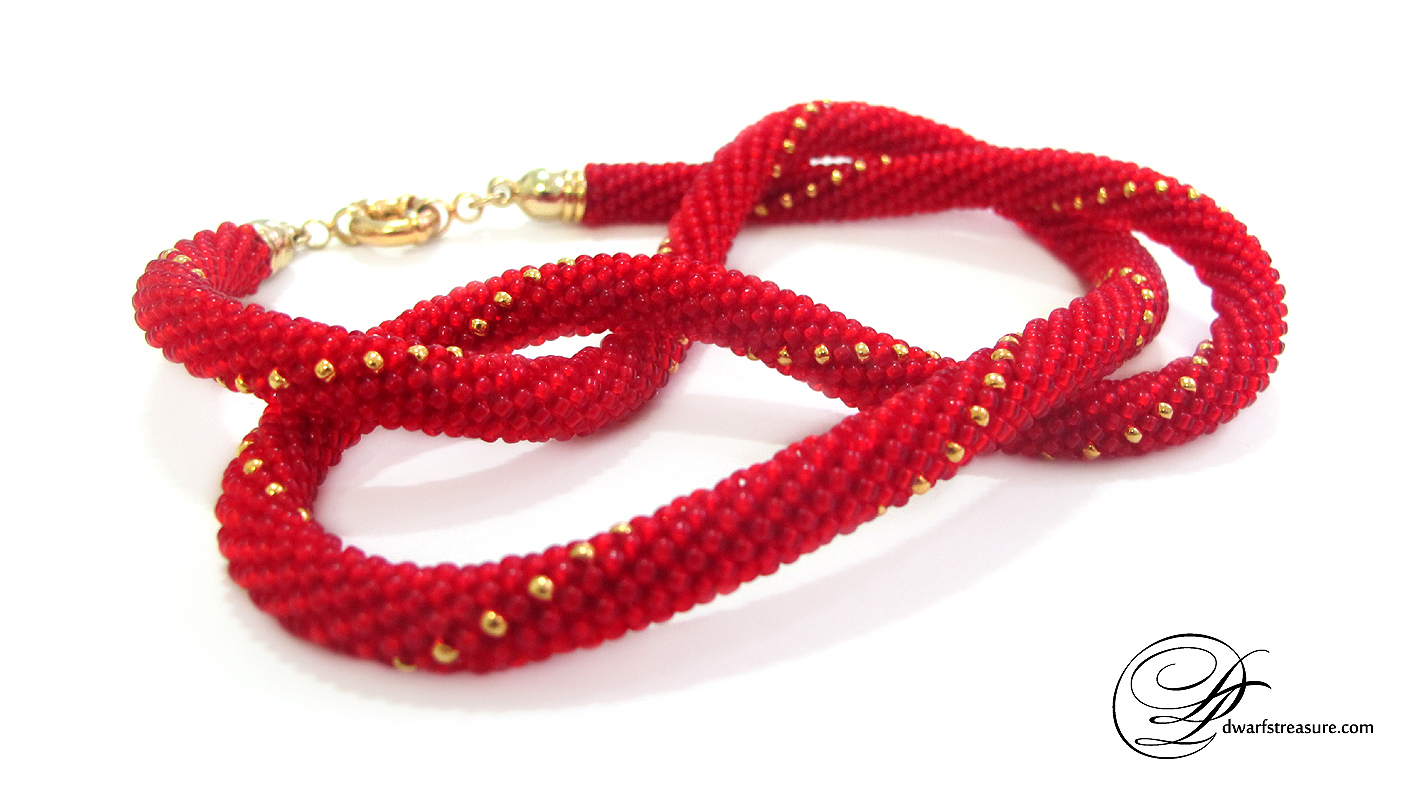 Fancy scarlet beaded crochet wrap bracelet