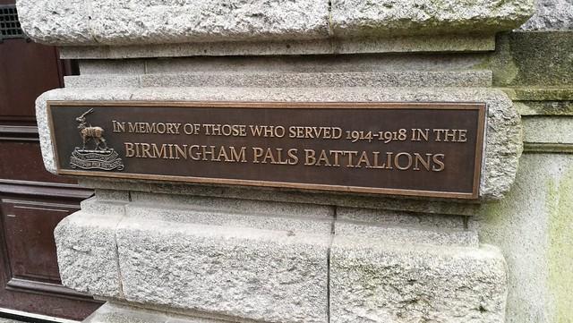 Photo of Birmingham Pals bronze plaque