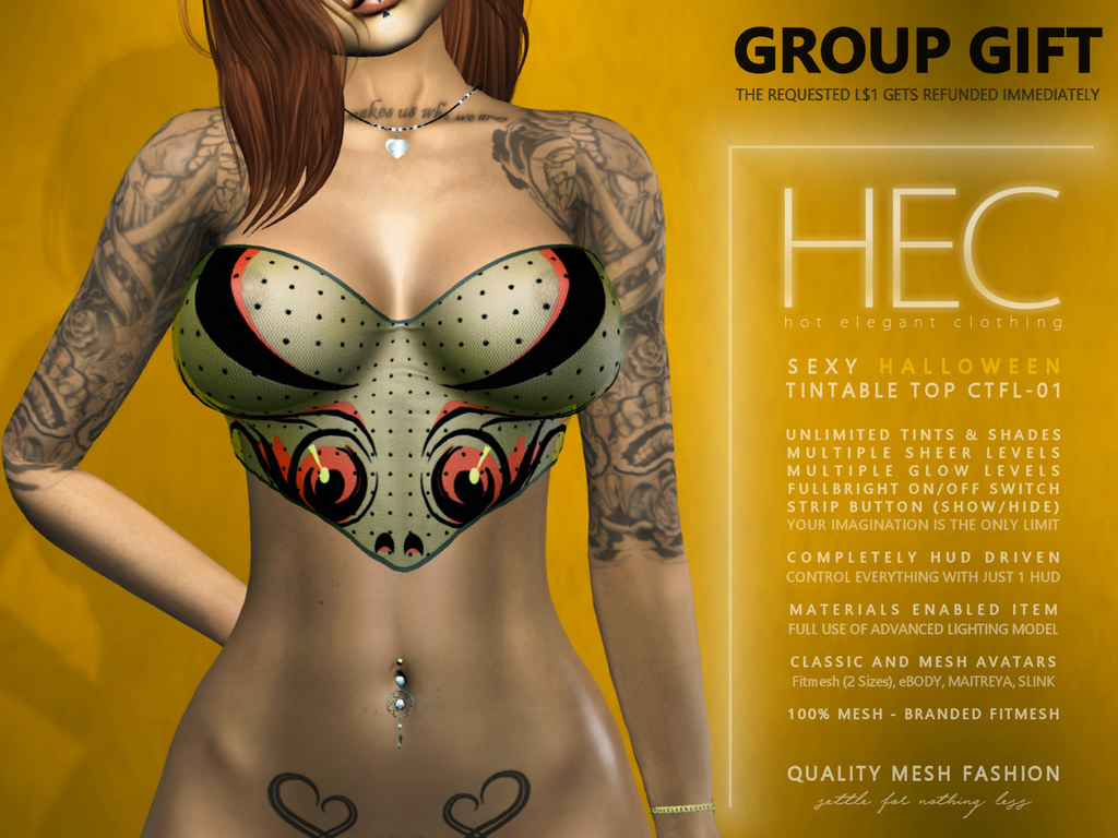 HEC (GROUP GIFT) • SEXY HALLOWEEN TINTABLE TOP CTFL-01 - TeleportHub.com Live!