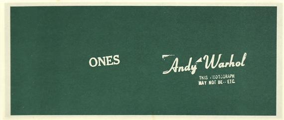 Warhol Ones Art Cash , 1971