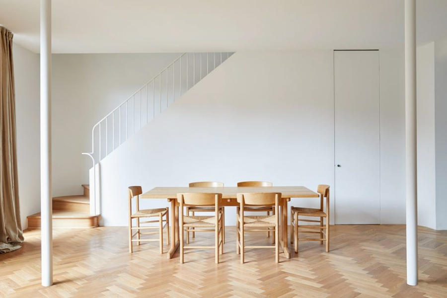 Minimalist Home with Parquet Floors