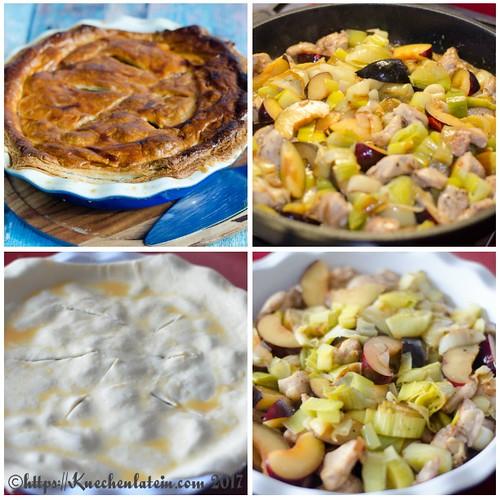 Chicken, leek and plum pie collage