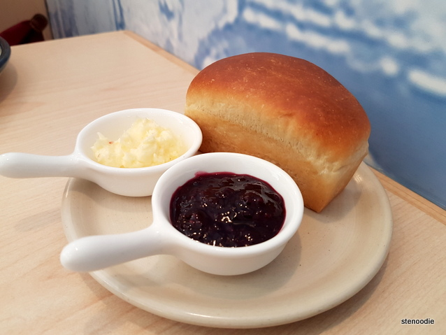 Brioche with butter and jam