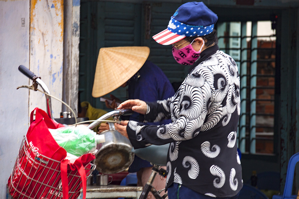 Stars and stripes cap and conical hat--Phan Thiet