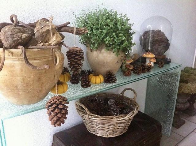 Glazen tafel herfstdecoratie