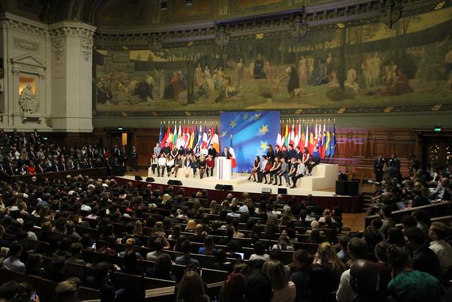 Emmanuel Macron prononce son discours sur l'Europe en Sorbonne