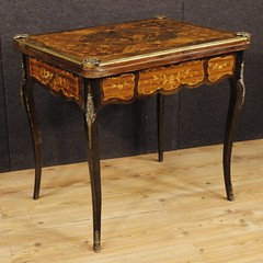 French inlaid game table with golden bronzes