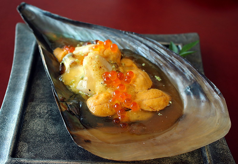 Miso Penshell Clam with Sea Urchin and Salmon Roe