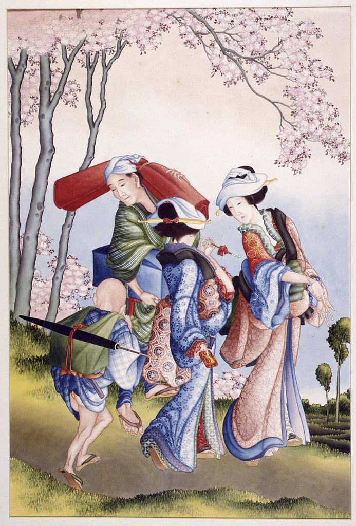 葛飾北斎《花見》(1824-26年頃、ライデン国立民族学博物館)