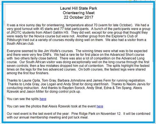 WPOC Result Laurel Hill