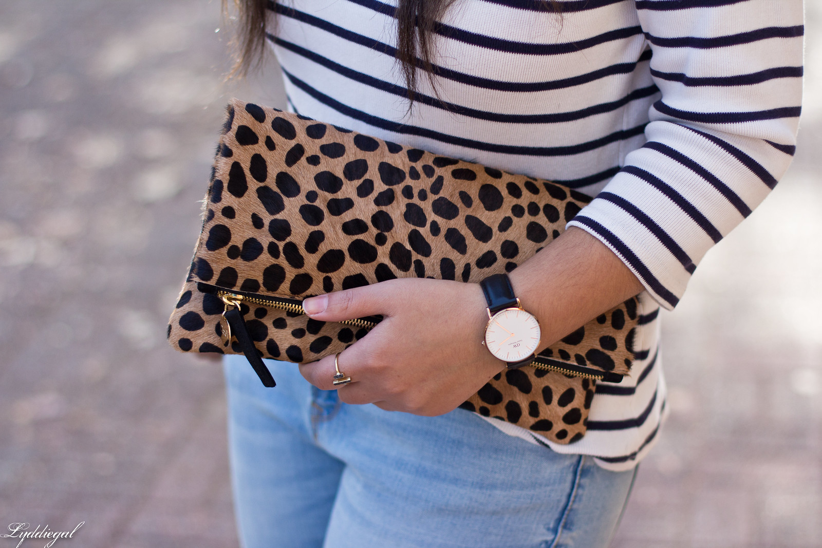 striped shirt, distressed jeans, red flats, navy fedora, leopard clutch-6